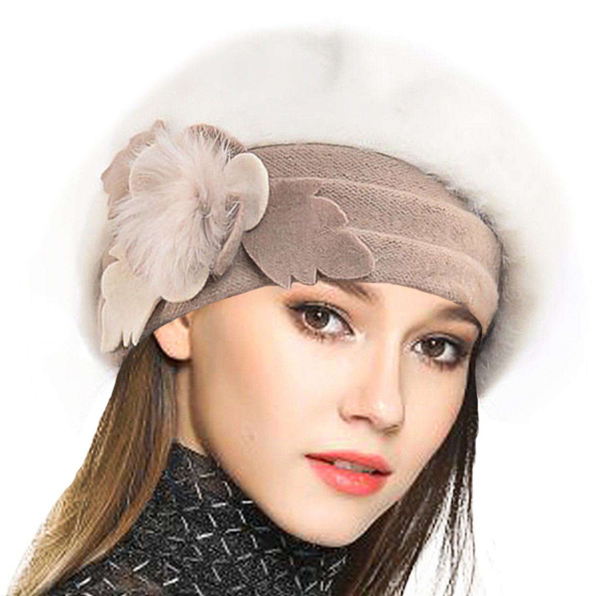 VECRY Lady French Beret 100% Wool Beret Floral Dress Beanie Winter Hat (Angola-Cream)
