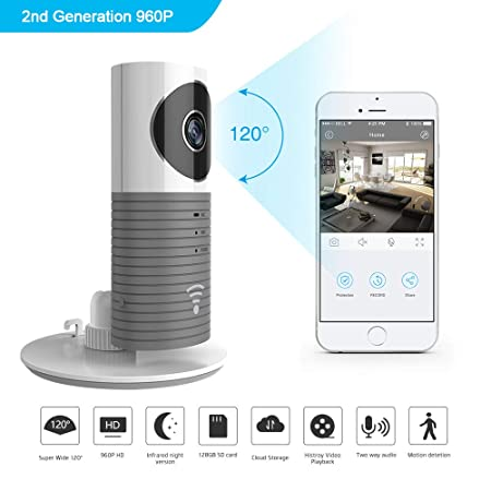 Clever Dog 960P 120 Wide Angle Lens Wireless Security WiFi Camera Grey