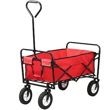 World Pride Foldable Utility Cart Garden Wagon Shopping Top Sports Beach,Red