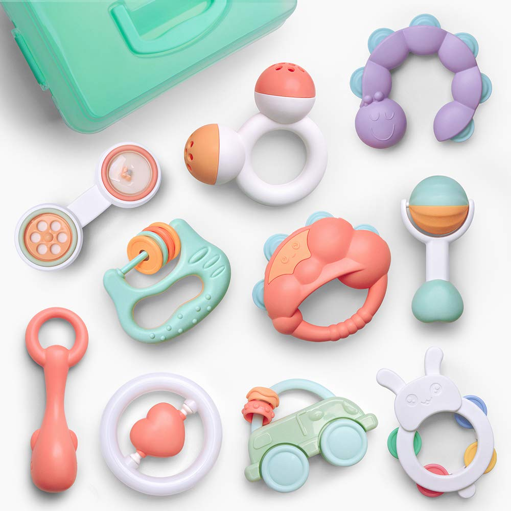Gizmovine Baby Toys Rattles Set, Infant Grasping Grab Toys, Spin Shaking Bell Musical Toy Set Early Educational Toys with Storage Box for Toddler Newborn Baby 3, 6, 9, 12 Month (10 PCS)