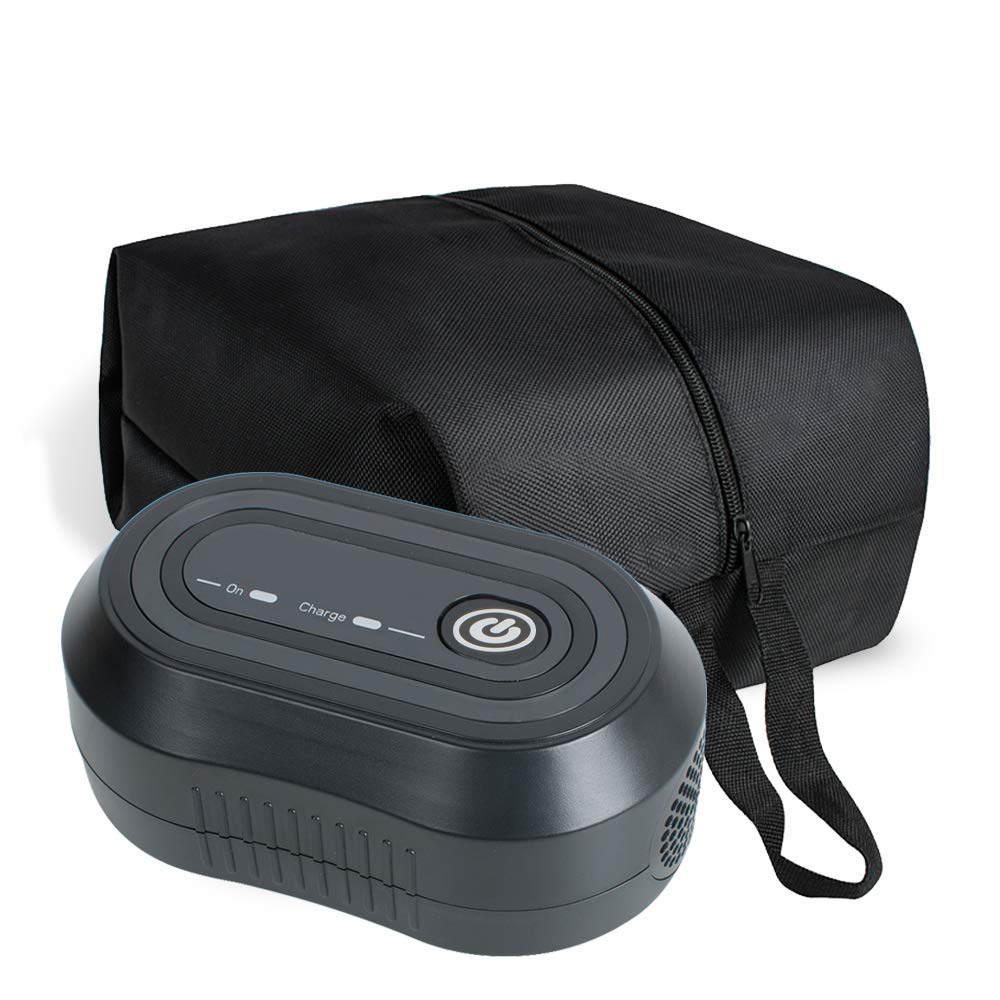 Denshine Black Mini CPAP Cleaner, Portable CPAP Cleaner and Sanitizer Includes Sanitizing Bag, CPAP Cleaner Disinfector for Masks, Cushion, 22mm Diameter of Tubing and Household Sterilization Cleaning by Denshine