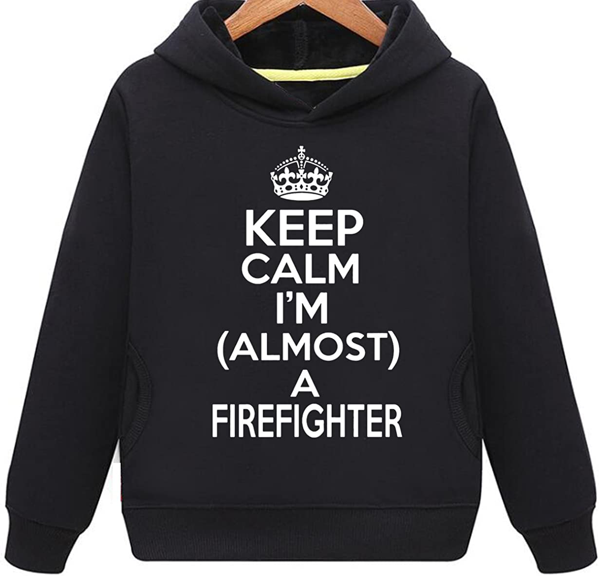 Kids Two Pockets Keep Calm I Am Almost A Firefighter Hoodie