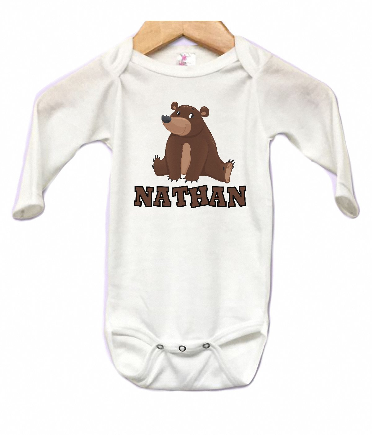 Onesie Long Sleeve Body Suit Babys First Christmas Bear Book Personalized Name Custom 0 to 3 mos or 3 to 6 months or 6 to 12 months for Boys or Girls