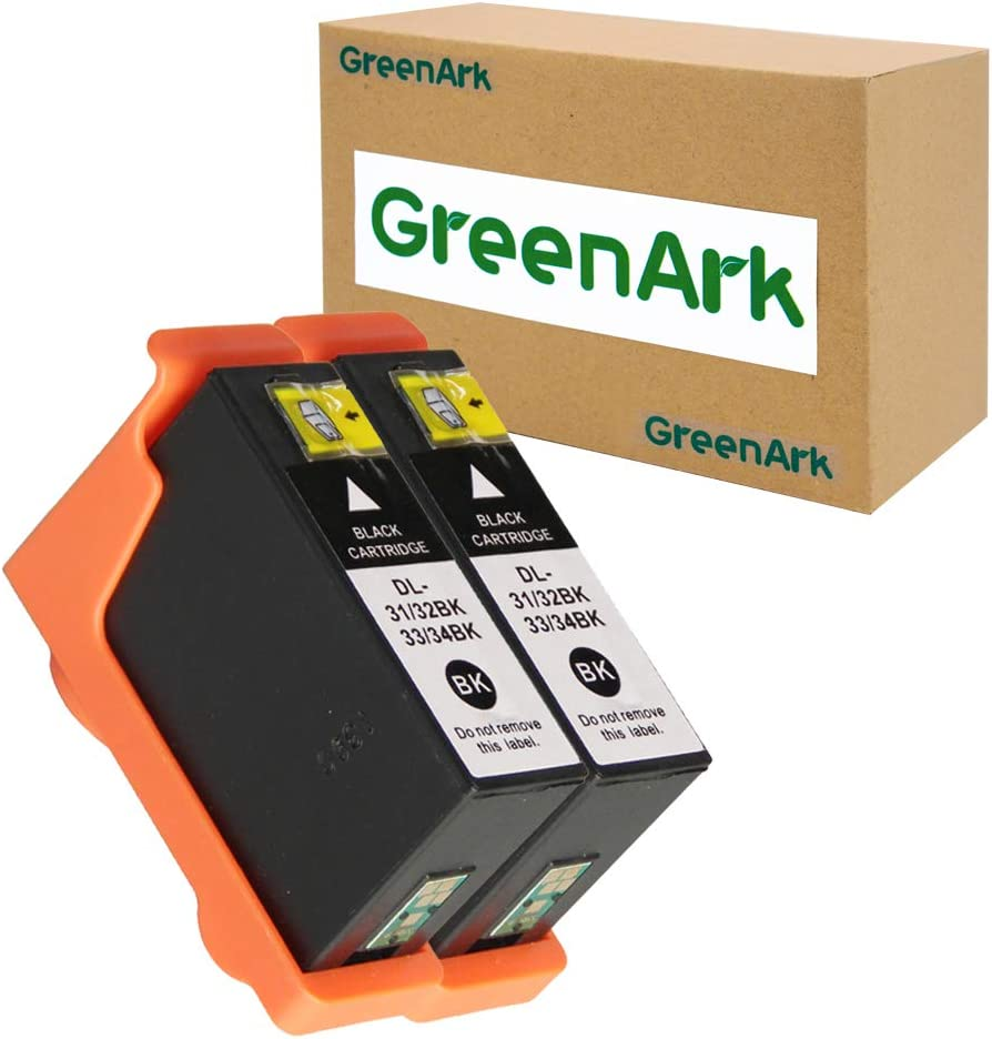 GREENARK Compatible for Dell Series 31 Ink Cartridges Black Use with Dell V525w, V725w All-in-One Printers 2 Pack for Dell 31 32 33 Black Ink Cartridges