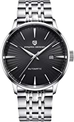 Mens Classic Automatic Wrist Watch Stainless Steel Watch Mens with Black Dial