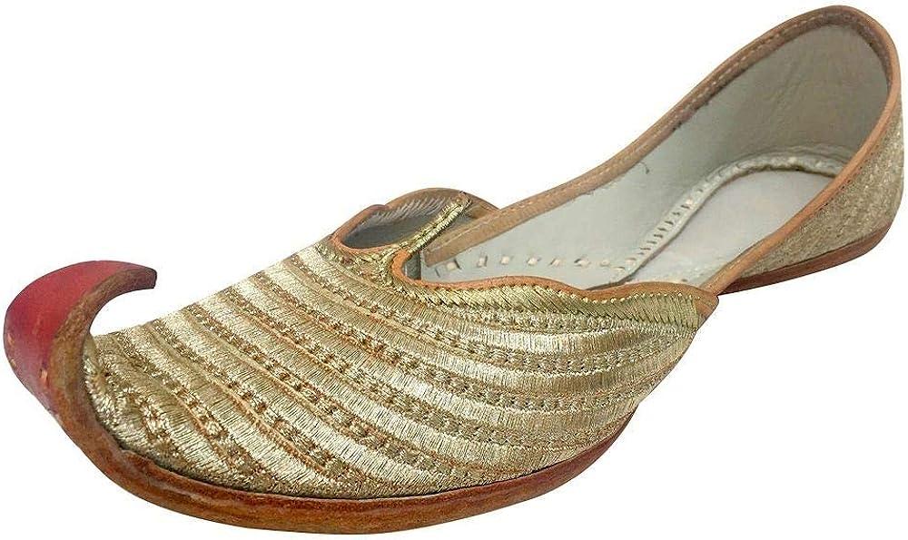 Step n Style Mens Gold Khussa Shoes Punjabi Jutti Indian Ethnic Mojari Tribal Bridal Shoes