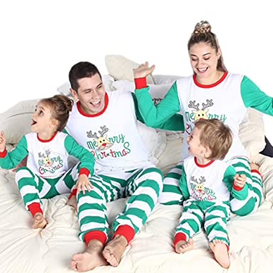 Amazon.com  Blaward Family Matching Christmas Pajamas Set Deer Tops ... 2af46e272