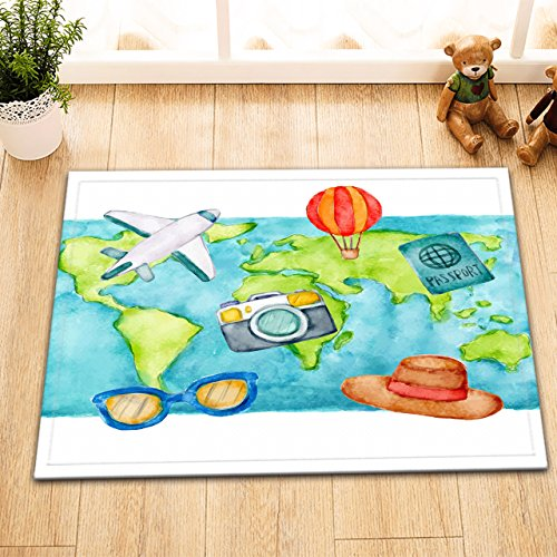 LB Watercolor World Map Plane Hot Air Balloon Decor Rugs for Bathroom Floor, Slip Proof Rubber Backing Flannel Surface, Travelling Wanderlust Rug 15 x 23 Inches