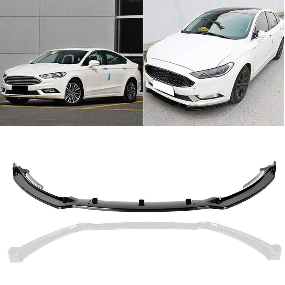 Black MotorFansClub 3pcs Front Bumper Lip Splitter for Ford Fusion Mondeo 2017 2018 Trim Protection Splitter Spoiler