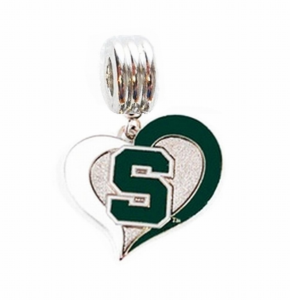 Heavens Jewelry MSU Michigan State University Spartans Heart Charm Slider Pendant ADD to Your Necklace European Bracelet DIY Projects ETC