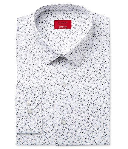 Alfani Mens Triangle Dot Button Up Dress Shirt White 15 1/2