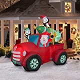 Santa Truck Retro with Christmas Tree on Roof Airblown Inflatable 8ft