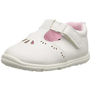Carter's Every Step Bella Baby Girl's T-Strap Flat Mary Jane, White, 3 M US Infant