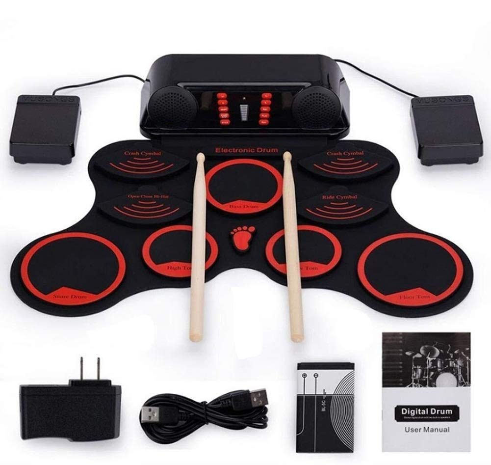 Electronic drum Set, USB Portable Roll Up Drum Pad Kits Foldable Musical Practice Instrument,Built-in Lithium Battery Stereo Surround by Electronic drum