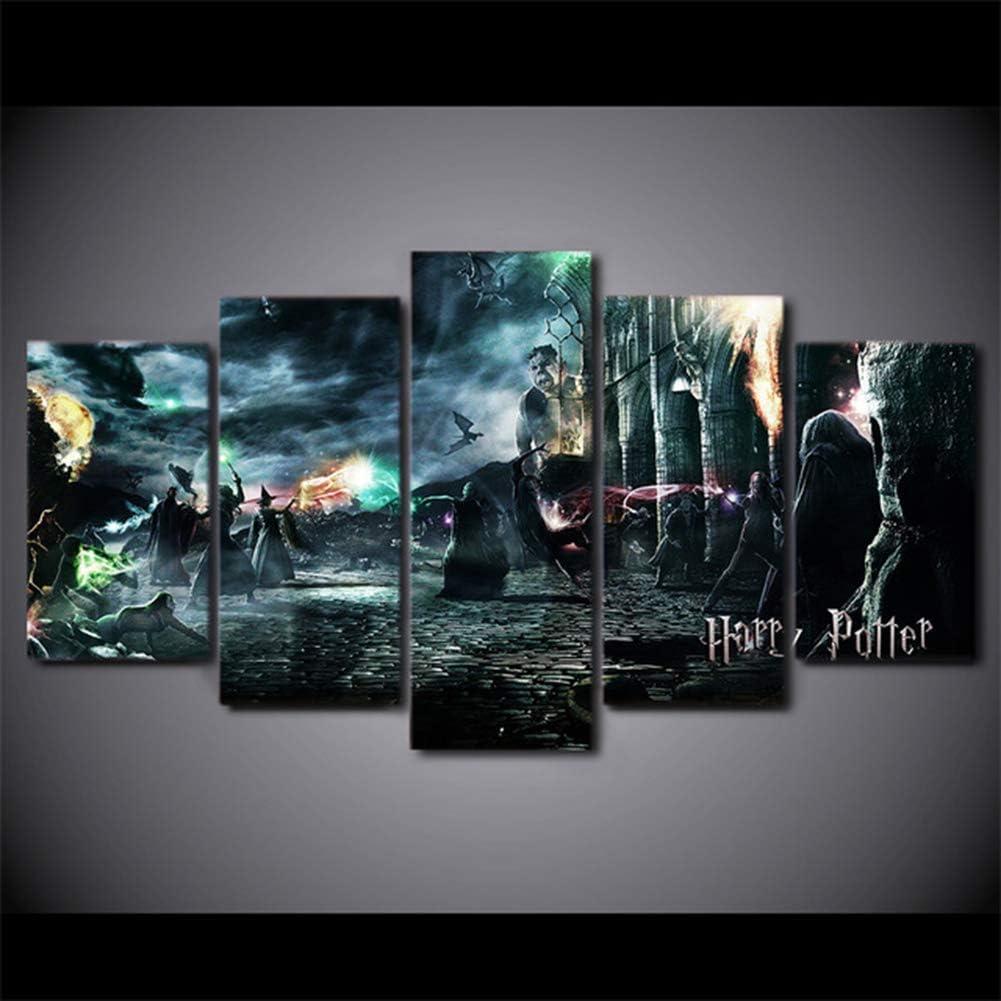 OPARY Art Mural Toile La Peinture Affiche Modulaire 5 Panneau Film Harry Potter Personnage des Photos D/écoration de Maison pour Le Salon,A,20/×35/×2+20/×45/×2+20/×55/×1