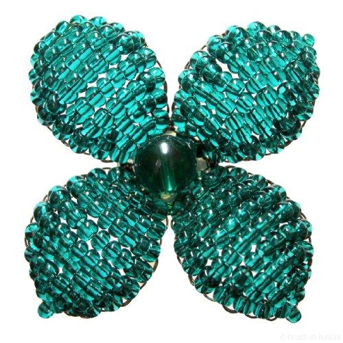 Makalapua Quatrefoil Beaded Flower Brooch - Emerald