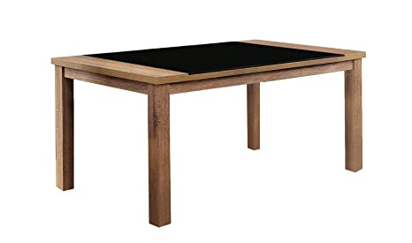 Furniture Of America Becks Rectangular Tempered Glass Top Dining Table,  Light Oak