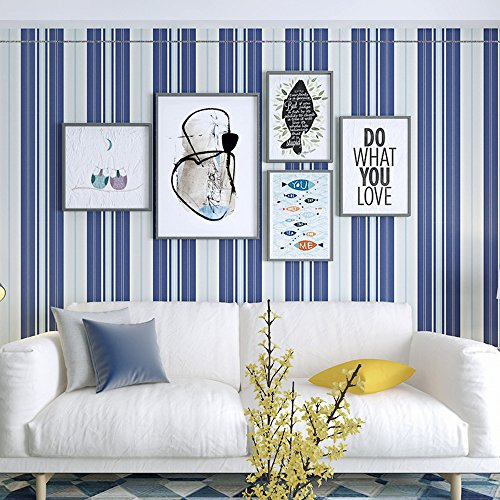 Okydoky Blue and White Vertical Stripes Wallpaper,Removable,Living Room Bedroom Kitchen Background No.1355