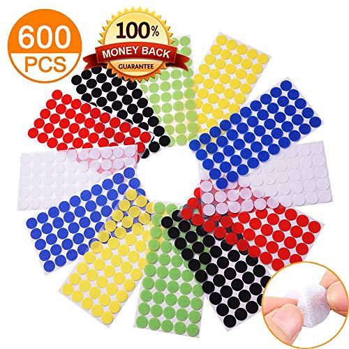 Self Adhesive Dots, Strong Adhesive 600pcs(300 Pairs) 6 color 3/4