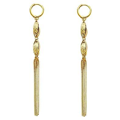 bc9f68524f4f6d Amazon.com: 14K Yellow Gold Fancy Hanging Earrings: Jewelry