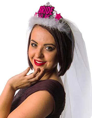 BRIDE-TO-BE Tiara mit Brautschleier f/ür Junggesellinnenabschied