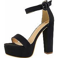 FeiZhi Women's Ankle Strap Platform Pump Party Dress High Heel