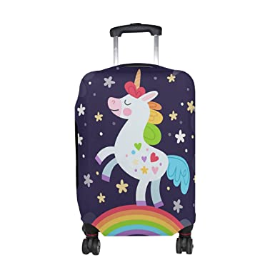 fe1f5c93f Cooper girl Cartoon Rainbow Unicorn Travel Luggage Cover Suitcase Protector Fits  23-26 Inch