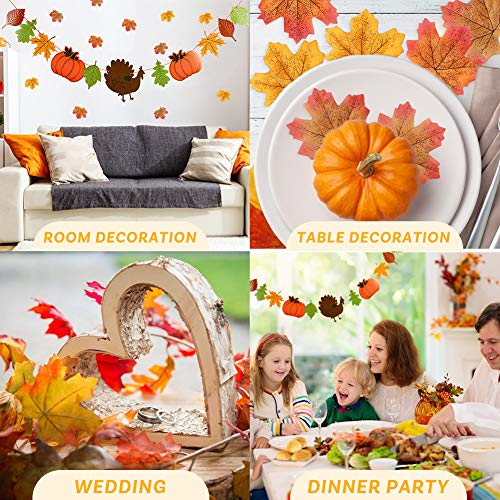 BigOtters Give Thanks Banner, 1PCS Give Thanks Garland for Thanksgiving Decor with Turkey Pumpkin Sign and 120PCS Maple Leaves for Fall Autumn Mantel Dinner Table Decor Party Supply Home Wall Hanging