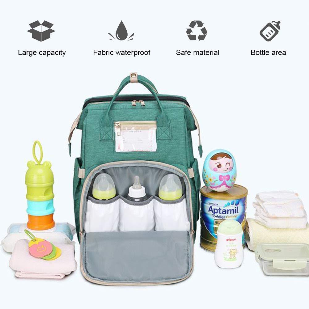 Baby Wickelrucksack Wickeltasche Babytasche,Zusammenklappbare Krippe,Tragbare Mama Tasche Grau Baby Reise Backapack Babybett