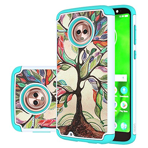 Moto G6 Case, LEEGU [Shock Absorption] Dual Layer Heavy Duty Protective Silicone Plastic Cover Rugged Case for Motorola Moto G 6th Generation - Love Tree