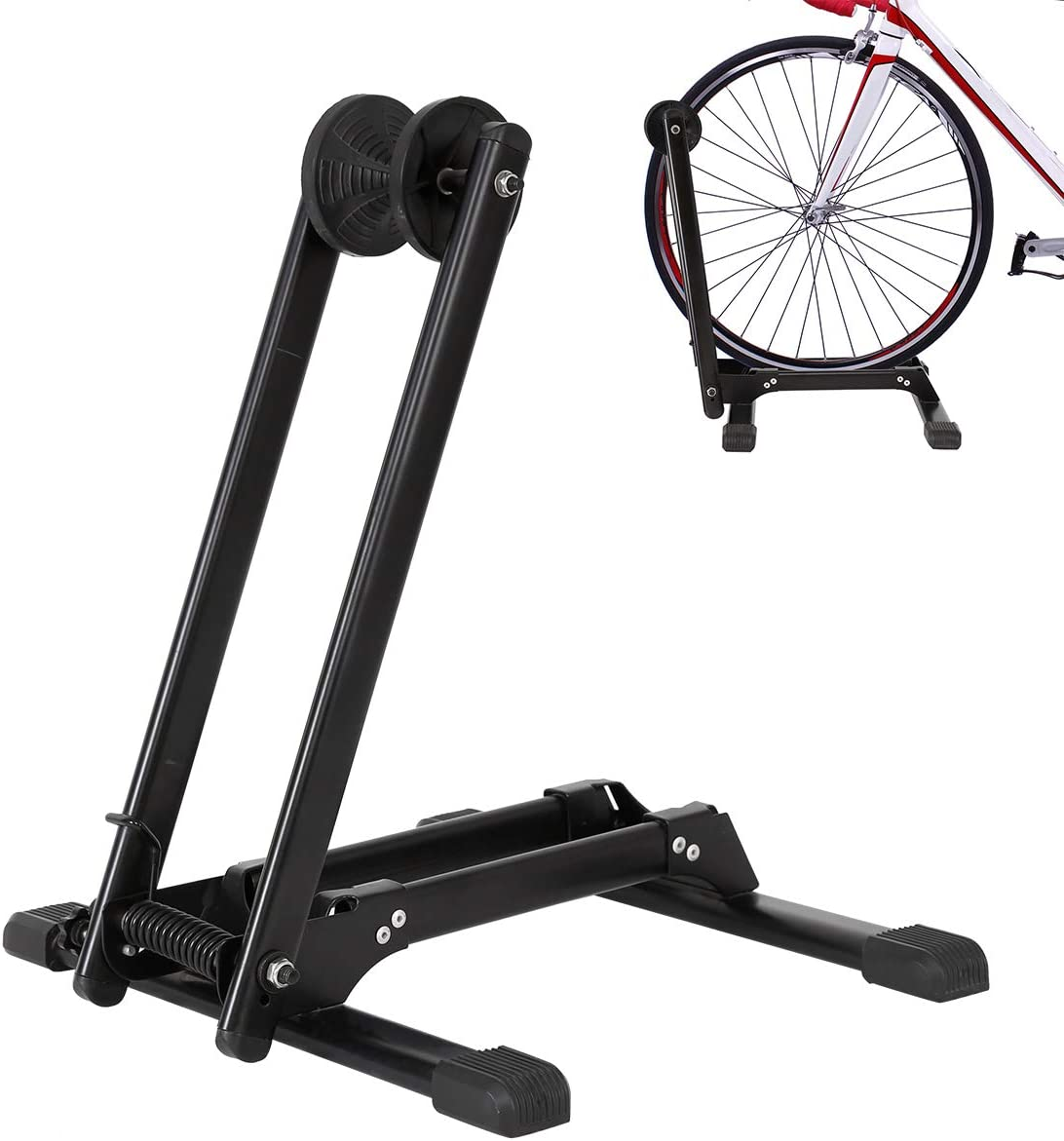 Foldable Bicycle Storage Stand, Bike Floor Parking Rack, Home Bike Stand Rack Holder, Portable Bicycle Storage Holder Mountain Bikes Adjustable Cycle Parking Rack Indoor Outdoor Garage Storage