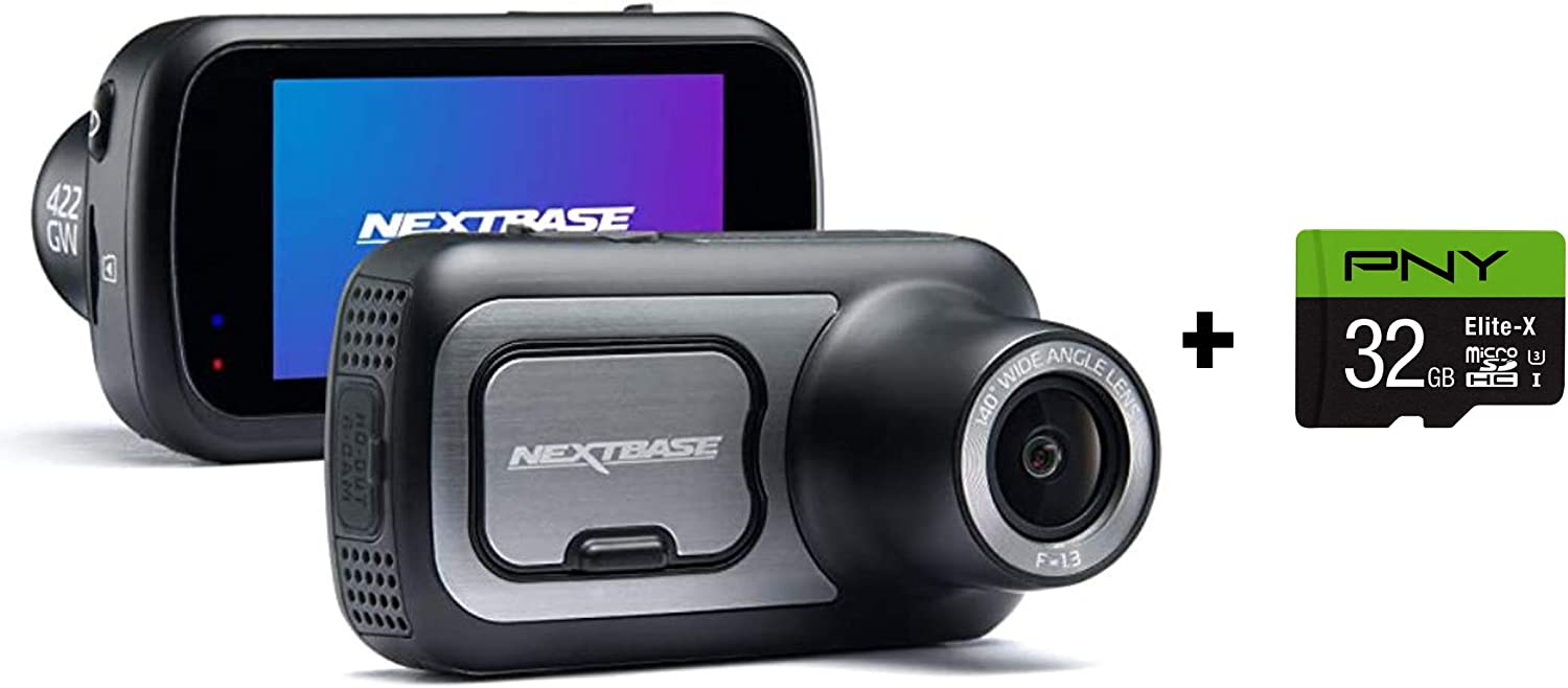 "Nextbase 422GW Dash Cam 2.5"" HD 1440p Touch Screen Car Dashboard Camera, Amazon Alexa, WiFi, GPS, Emergency SOS, Wireless, Black + PNY Elite-X 32GB U3 microSDHC Card (Bundle)"