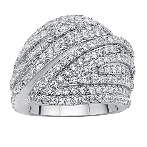 Multi Cut Cluster - Palm Beach Jewelry Platinum-plated Round Cubic Zirconia Multi-Row Dome Ring Size 8