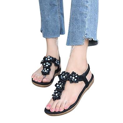 7b59b1ae30 Damen Sommer Sandalen Frauen Bohemian Strass Sandals Sommerschuhe Leder  Elastischen Strand Schuhe Zehentrenner mit Blumen &