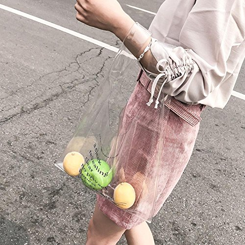 Beach Handbag PVC Casual Women Clutch Transparent Purse Simple Widewing Bag Shopping SqxP6Rww