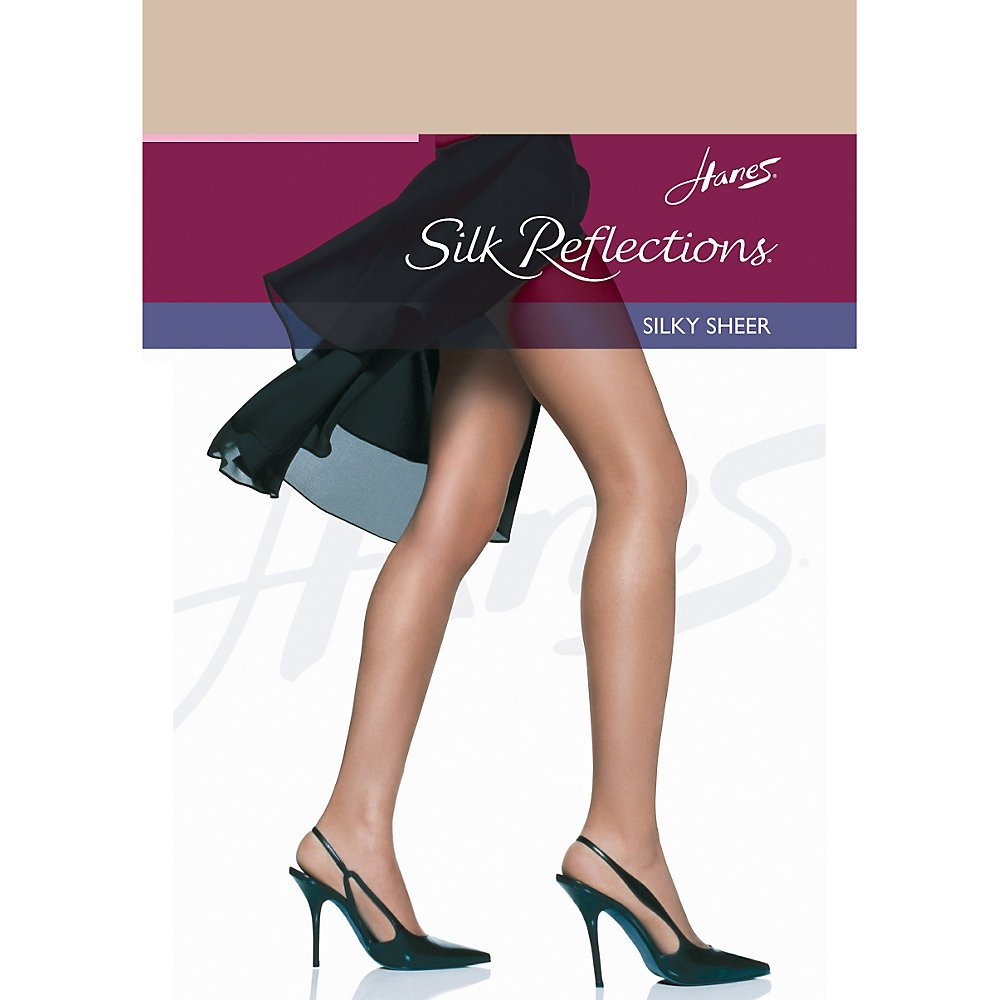 Hanes Women`s Set of 3 Silk Reflections Non-Control Top RT Pantyhose EF, Travel Buff