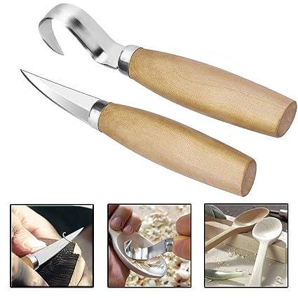 (2pc) Juego de Cuchillo para Tallar Madera Cuchillo de Gancho,Escultura de Cinceles para DIY,Herramientas de Grabado en Madera para Principiantes ...