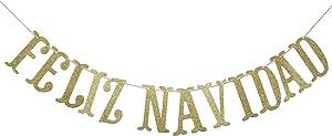 Feliz Navidad Banner, Sign, Navidad, Mexican Christmas, Southwest Christmas, Spanish Christmas Garland, Holiday Banner, Christmas Decor (Gold)