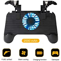 PUBG Mobile Game Controller, Womdee Game Handle Ergonomic Design for PUBG Rules of Survival Mobile Gaming Joysticks with Cooling Pad Power Bank Aim Trigger for Android IOS Smart Phones