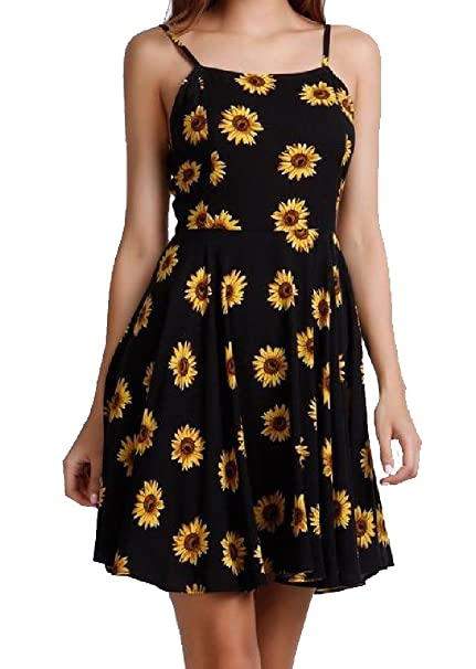 Women Elastic Waist Sexy Sunflower Printed Maxi Dresses At