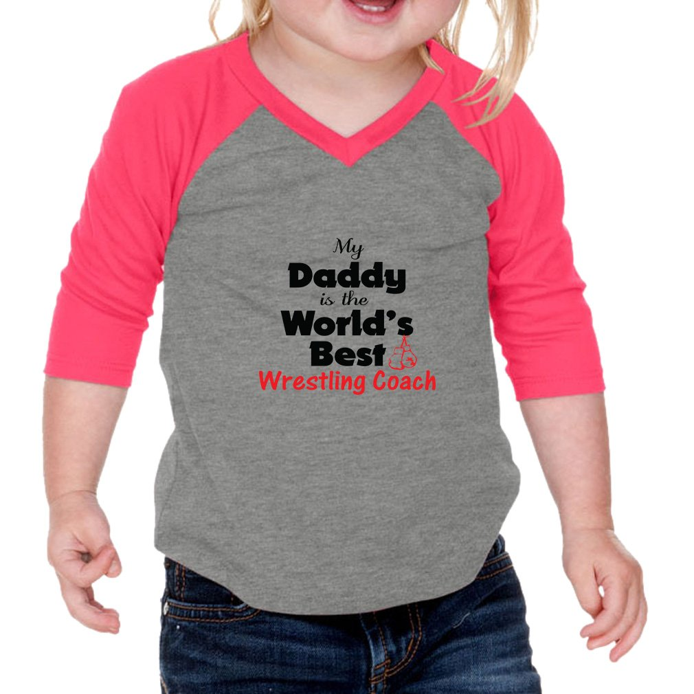 Cute Rascals My Daddy is The World's Best Wrestling Coach Infants 60/40 Cotton/Polyester Jersey Shirt - Gray Hot Pink, 18 Months by Cute Rascals
