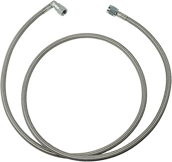 AN-6   14 In Long Stainless Steel Braid PTFE Hose Assembly both straights NC