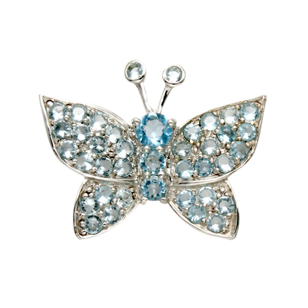 Sterling Silver Butterfly Pin w/Faceted Aqua Crystal Stones