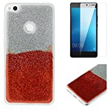 For Huawei P8 Lite 2017 Glitter Case with Screen Protector,OYIME Luxury Shiny Design Ultra Thin Slim Fit Soft Silicone Rubber Bumper Scratch Resistant Protective Back Cover - Red