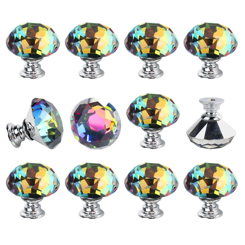Dxhycc 12Pcs Crystal Colorful Glass Drawer Pulls 30 mm Decorative Knobs Cabinet Knobs for Kitchen Bathroom Cabinet, Dresser and Cupboard Diamond Shape Wardrobe Pulls Handles