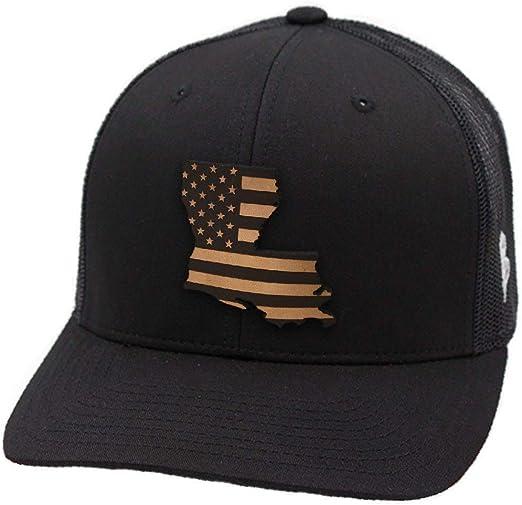 OSFA//Heather Grey//Black Branded Bills /'Louisiana Native Leather Patch Hat Flat Trucker