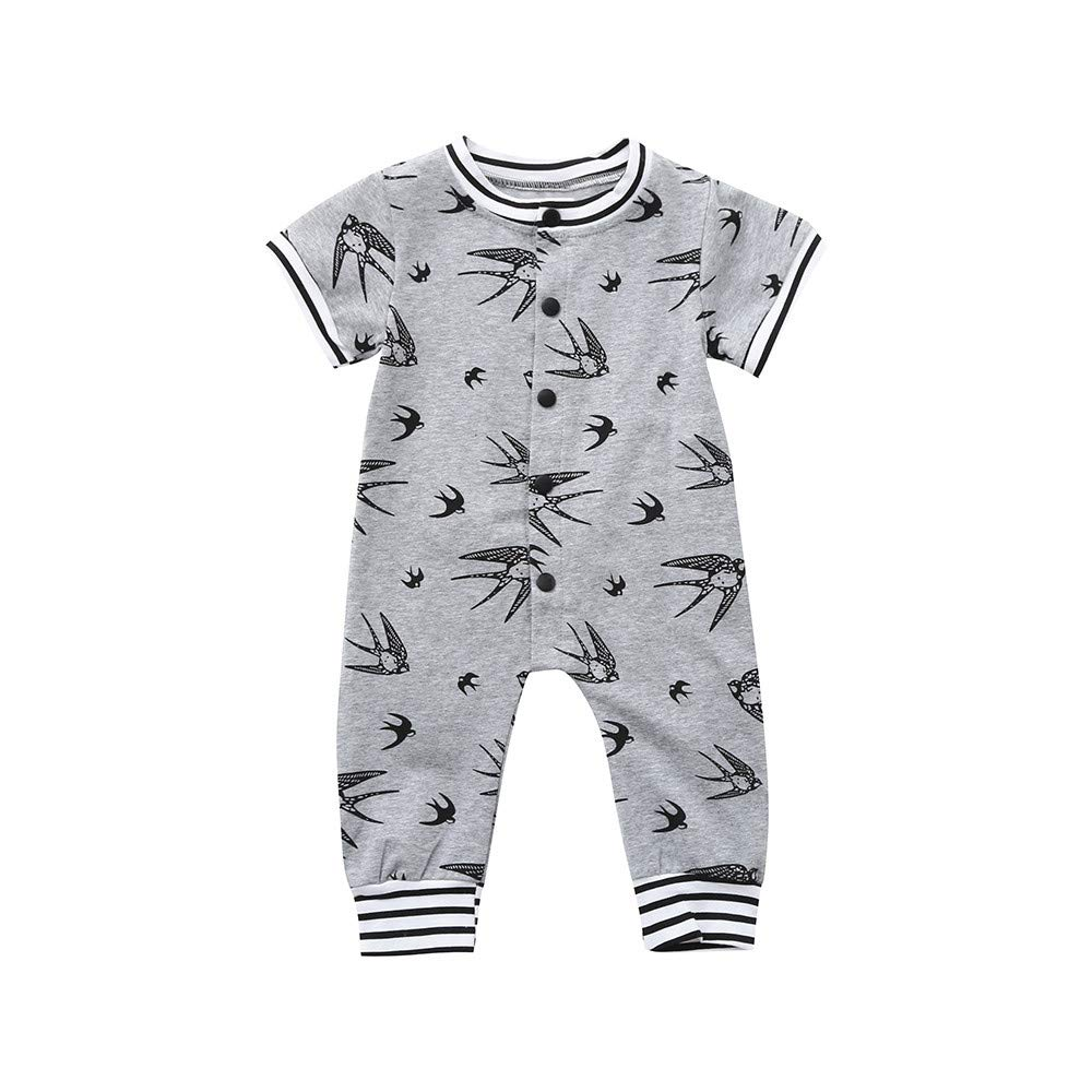 POIUDE Clearance Boy Clothes Baby Boy Girl Short Sleeves Swallow Print Romper Jumpsuit Baby Clothing POIUDE-baby clothes