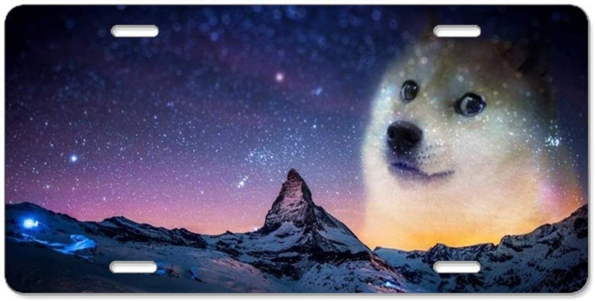 YEX Abstract Shiba Inu License Plate Frame with 4 Holes Novelty Car Licence Plate Covers Auto Tag Holder Tag Sign 12 x 6