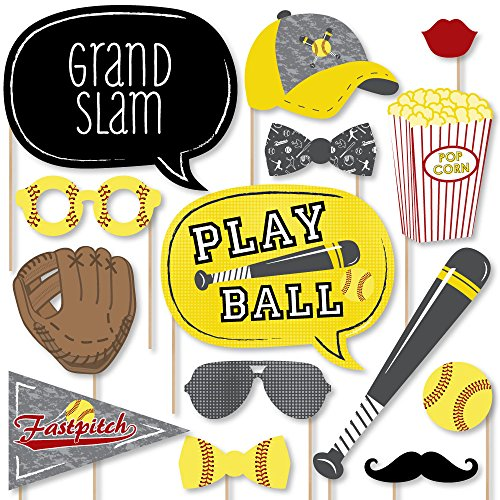 Big Dot of Happiness Grand Slam - Fastpitch Softball - Birthday Party or Baby Shower Photo Booth Props Kit - 20 Count