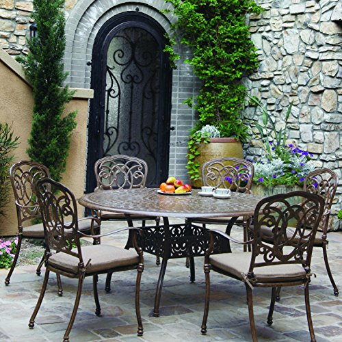- Darlee Florence 7 Piece Cast Aluminum Patio Dining Set With Round Table - Mocha
